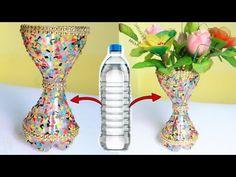 Best Out Of Waste Plastic Flower Vase/Plastic Bottle craft ideas/DIY Flower Pot/Waste material crafts. Plastic bottle Stone effect. Plastic Bottle Crafts Flowers, Diy Plastic Bottle, Flower Pot Crafts, Vase Crafts, Plastic Vase, Diy Bottle, Bottle Vase, Diy Flowers, Flower Vases