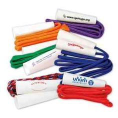 "Promote health and fitness for a healthy lifestyle with this budget fun jump rope! Solid color 80"" ropes with 4"" plastic handles where your logo/message is imprinted. A great giveaway at any health expo or giveaway/gift to new clients at your gym or fitness center! Great for schools, health events, or fitness centers, tradeshows, conventions, and fundraisers."