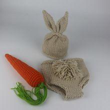 Conejito Crochet Newborn Fotografía Atrezzo Costume Set Conejo Sombreros y Gorros y Pantalones Pañal Recién Nacido Trajes de Accesorios(China (Mainland))