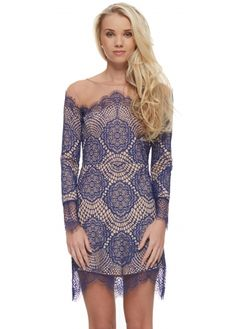For Love & Lemons Grace Dress In Sapphire Lace & Mesh