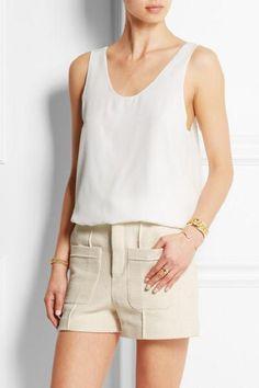 $599 CHLOE Iconic Silk Crepe De Chine Loose Fit Tank Top, sz 36, color Milk  #Chloe #TankTop