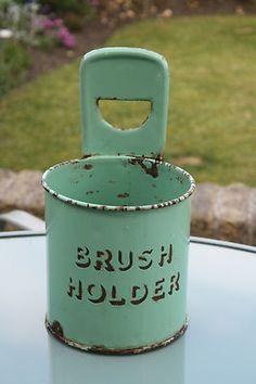 Vintage Green Enamel Brush Holder