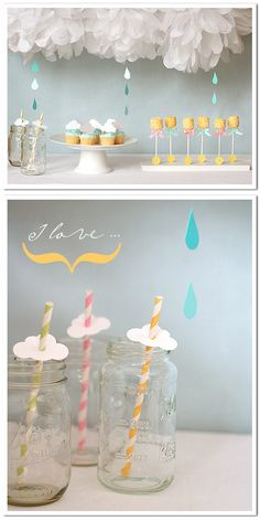 "Baby ""Shower""...or we could go with showers of joy...although...let me know how much you want to plan and how much you want to be surprised...although I still like blue and green...even with this theme. Showers and new green...like a spring birth!"