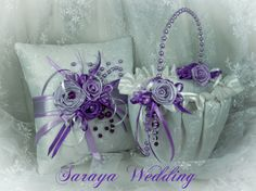 Flower Girl Basket and Ring Bearer Pillow Set in by SarayaWedding, $144.00