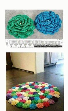 Crochet rug diy free pattern Ideas for 2019 Crochet Mat, Crochet Home, Easy Crochet, Crochet Stitches, Crochet Square Patterns, Crochet Designs, Knitting Patterns, Crochet Flower Tutorial, Crochet Flowers