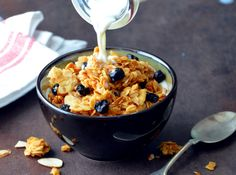 Chunky Blueberry-Almond Granola is perfect for breakfast, served with milk or over yogurt. One of the first recipes I shared here was a granola recipe. The recipe was good, the pictures not so muc...