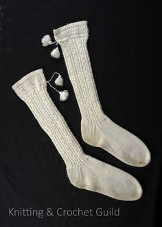 Very fine long stockings with tassels. Design Competitions, High Socks, Tassels, Knit Crochet, Gloves, Stockings, Wool, Knitting, Fashion