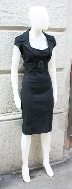 Black dress, SALE,pinup dress,fitted dress,retro 50s dress, mad men, in black stretch cotton, xl only, knee length,sweetheart neckline. $59.95, via Etsy.