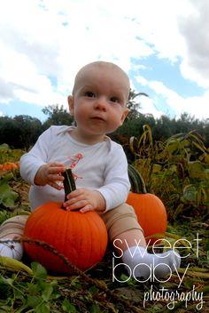 Baby boy ~ Pumpkin patch photo shoot ~ photo idea ~ fall photos ~ blue skies ~ orange pumpkins ~ 9 month old photo idea