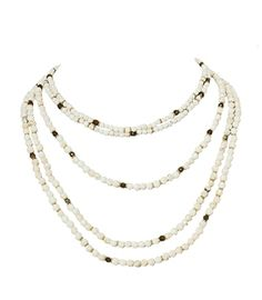 Rachel Reinhardt 5 Row White Howlite Labradorite Necklace at Elements Chicago