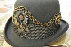 "Men's Steampunk Hat-----One Of A Kind---READY TO SHIP--Upcycled--Gray Derby (Bowler) Style--Clockworks---Brass--Medium size 22"". $160.00, via Etsy."