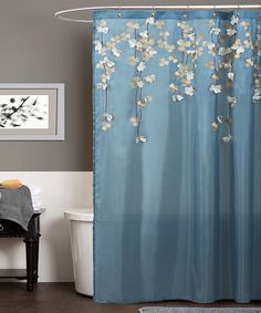 Blue & White Flower Drops Shower Curtain | Daily deals for moms, babies and kids