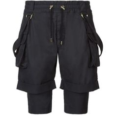 Balmain Double Layer Harness Shorts (€880) ❤ liked on Polyvore featuring men's fashion, men's clothing and men's shorts