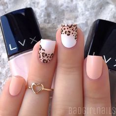 """I've been obsessed with simple manis lately another look at today's nails, featuring """"Macaroon"""" (peachy nude) and """"Espresso"""" (dark brown) tutorial has already been posted Cute little heart ring is from @lilxurious"""