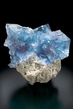 Sky Blue Fluorite with purple phantoms on Barite