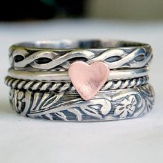 Silver Band and Pink Heart Ring