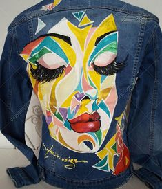 - Women Jean Jackets - Ideas of Women Jean Jackets T Shirt Painting, Hand Painting Art, Fabric Painting, Painted Jeans, Painted Clothes, Hand Painted, Geometric Face, Cute Jean Jackets, Cute Swag Outfits