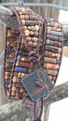 Leather triple wrap bracelet firefly button czech glass picasso beads copper off…