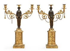 760. A pair of Swedish Empire 19th century two-light candelabra.