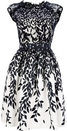 Blumarine Flared Lace Dress in White and black. I want this! Then I want an excuse to wear it!!!