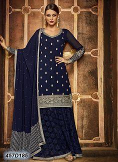 Trendy Navy Blue Coloured Georgette Semi stitched Indo western Anarkali salwar suit