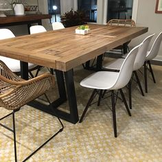 Modern Dining Table - It is not a fact that the Dining Room Table Modern Wooden is difficult to construct. Modern Kitchen Tables, Farmhouse Kitchen Tables, Dining Table In Kitchen, Modern Rustic Dining Table, Simple Dining Table, Rustic Kitchens, Contemporary Dining Table, White Kitchens, Rustic Modern