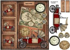 Male card Vintage steampunk car on Craftsuprint designed by Marijke Kok - Great card for a male card with a steampunk car and a worldmap - Now available for download!