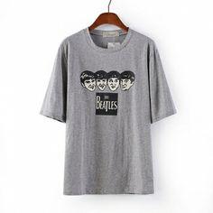 Grey Blending Round Neck Short Sleeve Print Tops vzgirl.com