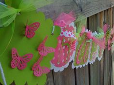 HAPPY BIRTHDAY BANNER in Hot Pink and Lime by BurleyGirlDesigns, $30.00