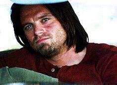 Bucky watching Steve kiss Sharon. (Sebastian Stan was trying not to laugh.)
