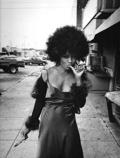 Diana Ross finishing a rib, 1980s.
