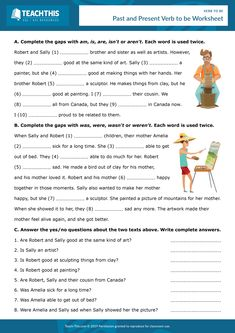ESL Verb to be Interactive Worksheet - Online Reading and Writing Exercises - Pre-intermediate - 30 minutes Here is a free interactive PDF worksheet for English teachers working online. English Quiz, English Verbs, English Lessons, Learn English, English Exam, French Lessons, Spanish Lessons, Learn French, English Grammar Exercises