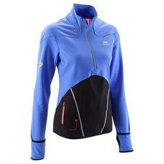 RUNNING_textil Ropa de mujer - Camiseta térmica de running de mujer Kalenji Kiprun azul y negra KALENJI - Parte de arriba