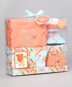 Loving this Baby Essentials Peach Floral 'Pretty Like Mommy' Five-Piece Layette Set on #zulily! #zulilyfinds