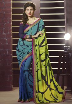 Neon Green, Teal Blue and Blue Faux Georgette Saree with Blouse
