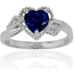 Amazon Curated Collection 14k White Gold Heart Created Blue Sapphire And Diamond Ring (.02 Cttw, I-J Color, I1 Clarity) (1.649.455 IDR) found on Polyvore