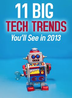 From the death of the desktop to the rise of 3D printing, here's what you'll see in the technology of 2013.