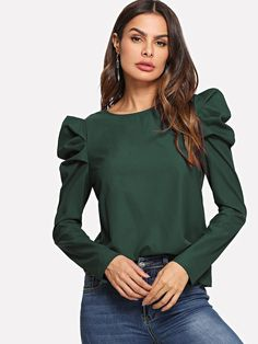 Shop Keyhole Back Puff Sleeve Solid Top online. SHEIN offers Keyhole Back Puff Sleeve Solid Top & more to fit your fashionable needs. Leg Of Mutton Sleeve, Peplum Blouse, Peplum Tops, Fall Shirts, Pull, Jodhpur, Types Of Sleeves, Green Blouse, Sleeve Styles
