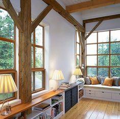 Designed by Greene Partners, WA. Bookshelves under windows! Windowseats! Love all the light...