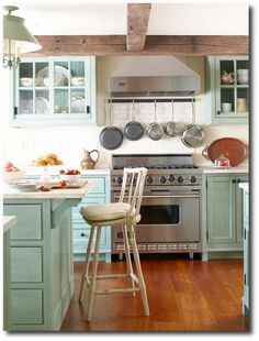 Rustic charms and seaside color palette, subway tile back splash would lend itself to a great beach-side retreat.