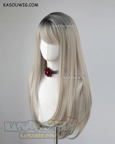 League of Legends KDA Ahri grayish blonde with black roots long straight wig Kawaii Hairstyles, Pretty Hairstyles, Wig Hairstyles, Manga Hair, Anime Hair, Cosplay Hair, Cosplay Wigs, Greyish Blonde Hair, Kawaii Wigs