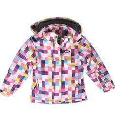 #Zimowa kurtka dla dziewczynki, Elbrus  System ochrony 10 000 chroni przed wiatrem i wodą, a także odprowadza nadmiar ciepła na zewnątrz kurtki. Dodatkowo technologia Waterproof, w połączeniu z klejonymi szwami i impregnacją, zabezpiecza materiał przed przemakaniem.