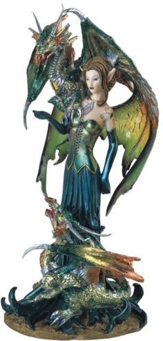 fairy and dragon art | Fairy Collection Pixie With Dragon Fantasy Figurine Figure Decoration ...