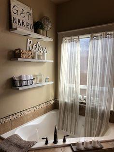 DIY Bathroom Ideas (DIY Bathroom Storage, Vanity, and Decorating Ideas) Tan Bathroom, Master Bathroom Layout, Modern Master Bathroom, Modern Bathroom Design, Bathroom Ideas, Bathroom Storage, Master Tub, Brown Bathroom Decor, Natural Bathroom