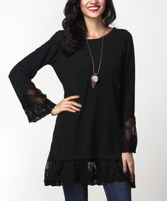 Look what I found on #zulily! Black Lace Bell-Sleeve Tunic #zulilyfinds