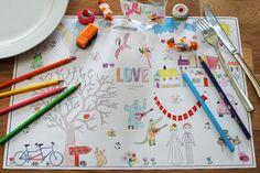 set-de-table-a-colorier. Kids Table Wedding, Wedding With Kids, Our Wedding, Wedding Tips, Wedding Events, Wedding Stuff, Weddings, Diy For Kids, Crafts For Kids
