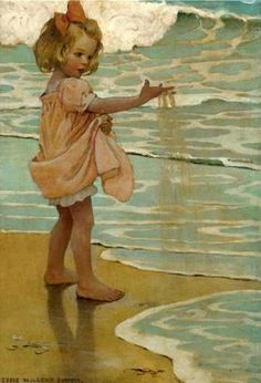 Little Things: Little drops of water, Little grains of sand, Make the mighty ocean and the pleasant land - A Child's Book of Old Verses, 1910
