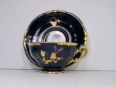 Vintage Tea Cup & Saucer Waldershof Bavaria Germany Cobalt Blue 22kt Gold Ingeborg by PSSimplyVintage on Etsy