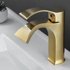 Antique Nickel Brushed Golden Brass Mixer Bathroom Sink Tap Short Version TG268N Waterfall Taps, Bathroom Sink Taps, Low Water Pressure, Brass Tap, Mixer, Heeled Mules, Ceramics, Antiques, Ceramica
