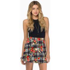 Tobi Little Mix Skater Skirt (£7.71) ❤ liked on Polyvore featuring skirts, black multi, plaid skirt, plaid skater skirt, flower print skirt, circle skirt and knee length skater skirt